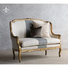Charming High Back French Vintage Settee in Gold $2,965.00 #thebellacottage #shabbychic #eloquence #homedecor