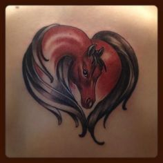 My heart horse tattoo, brown horse, elegant