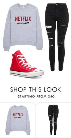 """Untitled #50"" by watersjessica ❤ liked on Polyvore featuring Topshop and Converse"
