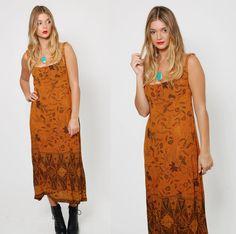 Vintage 90s TRIBAL Sun Dress Boho ETHNIC Dress Bird Print Festival Dress by LotusvintageNY