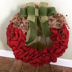 Burlap Christmas door wreath   https://www.facebook.com/WreathsbyKasy/