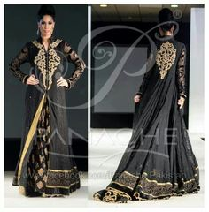 black and gold gown anarkali with lace sleeves