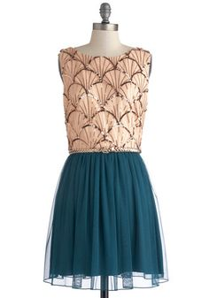 Boardwalk Shop Opening Dress - Blue, Pink, Sequins, Belted, Party, A-line, Sleeveless, Exposed zipper