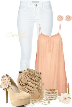 """Pink Rose & Flower Ruffles"" by casuality on Polyvore"