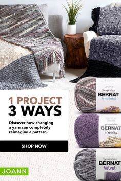 How cool! A crocheted blanket from the same pattern looks and feels totally different depending on the yarn you choose!  Make this blanket in all 3 Bernat yarns – Symphony, Freesia and Velvet – and see which one is your fave!