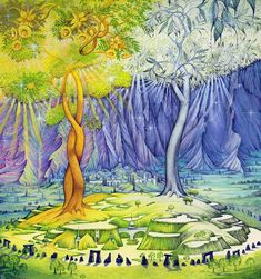The two trees of Valinor, Telperion (The Silver Tree) and Laurelin (The Gold Tree), from Tolkien's Silmarillion.