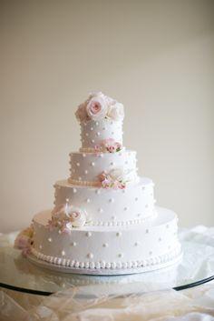 Playful Polka-Dot Wedding Cake With Roses   Crown Bakery   Deborah Zoe Photography https://www.theknot.com/marketplace/deborah-zoe-photography-middleton-ma-431971