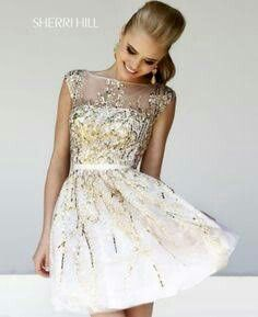 8dafbdbb5d White   gold short dress Fotos Vestidos De Novia