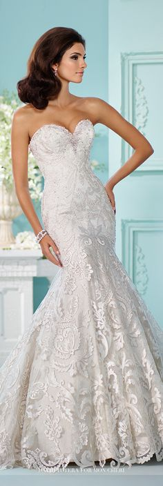 David Tutera for Mon Cheri Fall 2016 Collection - Style No. 216245 Minjonet - strapless lace fit and flare wedding dress