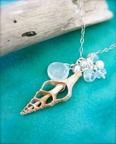 Coastal beach necklace - Shell sterling silver necklace on Etsy, $45.25