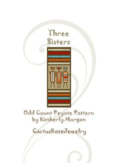 Three Sisters Odd Count Peyote Stitch Sampler instant download PDF includes labeled color graph and row by row bead placement
