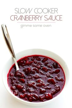 Slow Cooker Cranberry Sauce Recipe -- the classic sauce you love, lightly sweetened, and made super easy in the #slowcooker! | gimmesomeoven.com #crockpot @gimmesomeoven