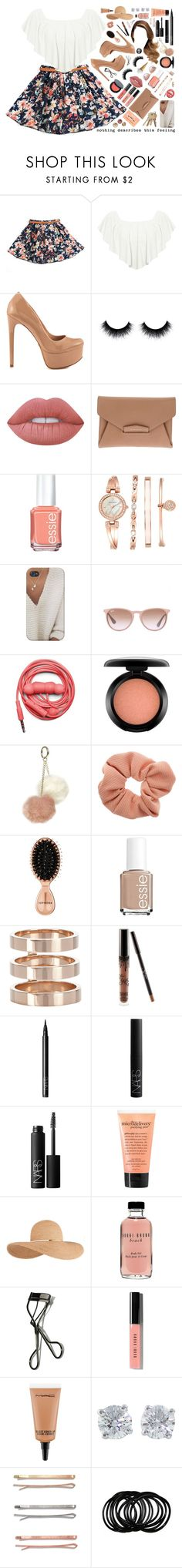 """""""this feeling."""" by dyciana ❤ liked on Polyvore featuring WearAll, Schutz, Bobbi Brown Cosmetics, Lime Crime, Givenchy, Essie, Anne Klein, Ray-Ban, Urbanears and MAC Cosmetics"""