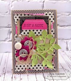 Julia Stainton: Belle Paperie (Pretty Paper): – for Taylored Expressions: Blog Design Team: Just a Note - 2/26/15.  (TE dies: Library Pocket; Tag Stacklets 2; Stitched with Love; Leafy Branch; Branches, Banner & Bloom.  Stamp: Notable Blooms-sentiment)