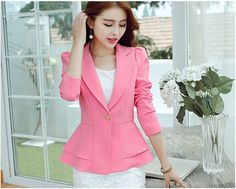 2016 Fashion Jacket Women Suit Lapel Coat Candy Color Slim Blazer Single Button Vogue Korean Ruffle Blazers OL Outerwear Jackets