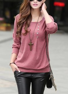 T Shirt Women T-shirt Loose O-Neck Long Batwing Sleeve Button Poleras De Mujer Camisetas Y Tops Tee Woman Clothes Vetement Femme Casual Outfits, Cute Outfits, Fashion Outfits, Womens Fashion, Work Outfits, Trendy Fashion, Vintage Fashion, Winter Shirts, Winter Tops