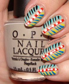 Tribal Feathers and Dots Nail Art