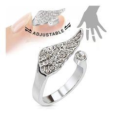 Angel Wing Multi-Paved Gems Adjustable Rhodium Plated Brass Mid-Ring/Toe Ring, Women's