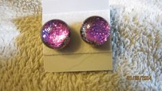 PURPLE SPARKLY FUSED GLASS SURGICAL STEEL STUD EARRINGS FREE SHIPPING    Imaginative_Creations - Jewelry on ArtFire