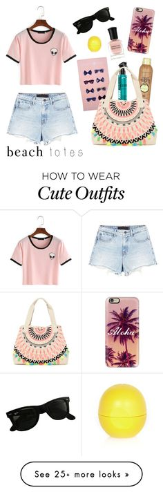 """Beach Outfit"" by rosam83 on Polyvore featuring Alexander Wang, Southern Proper, Casetify, Sun Bum, Ray-Ban, RAJ, Deborah Lippmann and River Island"