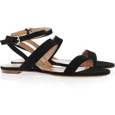Valentino Multi-strap suede sandals (1.830 HRK) ❤ liked on Polyvore featuring shoes, sandals, flats, valentino, scarpe, ankle strap flats, valentino sandals, valentino flats, black sandals and ankle strap sandals