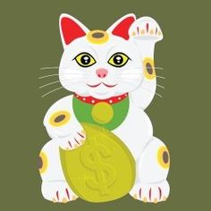 he Money Cat's beckoning paw signifies wealth arriving. She attracts money, luck, prosperity and new opportunities.