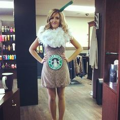 Pin for Later: 15 DIY Starbucks Costumes For Die-Hard Coffee Enthusiasts Fluffy Frappuccino A white feather boa becomes whipped cream in this simple frappuccino costume. Starbucks Halloween Costume, Halloween Class Party, Creative Halloween Costumes, Halloween Themes, Costume Halloween, Kid Halloween, Halloween 2015, Halloween Snacks, Halloween Crafts