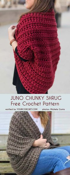 Juno Chunky Shrug Free Crochet Pattern Meadow Lace Shrug free crochet patternHow To Make A Chunky Crochet Scarf That Will Lay…Tunic Crochet PATTERN- Side Buttoned Vest/Ribbed… Crochet Baby, Free Crochet, Knit Crochet, Crochet Shrugs, Crochet Cocoon, Crochet Shrug Pattern Free, Easy Crochet Shrug, Patron Crochet, Beginner Crochet