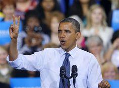 #112 - 10/5/12 - President Barack Obama gestures during a campaign event at George Mason University, Friday, Oct. 5, 2012, in Fairfax, Va (AP Photo/Pablo Martinez Monsivais)