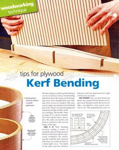 Kerf Bending - Bending Wood Tips and Techniques Woodworking Guide, Woodworking Skills, Woodworking As A Hobby, Woodworking Workshop, Woodworking Techniques, Woodworking Projects, Steam Bending Wood, Cnc, How To Bend Wood