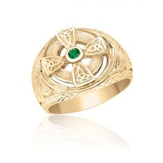 10K Yellow Gold Mens Celtic Cross Ring with Stone