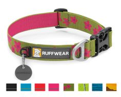 The Ruffwear Hoopie Collar is an everyday dog collar with an easy-to-use side-release buckle. Outdoor-inspired patterns connect you with your favorite wild spaces. Packed full of Ruffwear's essential collar features: separate ID tag attachment point, strong and comfortable webbing, and aluminum V-ring.  Available in four solid colors and four patterns. Try a matching Flat Out Leash for the complete set up.