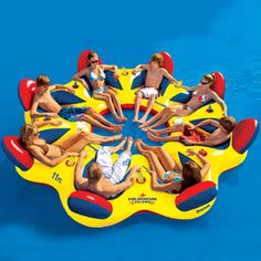 Overton's : Overtons Colosseum Island - Watersports > Lake & Pool Leisure > Party Island Floats : Lake Toys, Lake Rafts, Water Toys, Floating Decks, Rafts ** I'm thinking my friend Joanie needs this for our annual cabin vacation*** Lake Floats, Pool Floats, Inflatable Island, Inflatable Raft, Lake Rafts, Lake Toys, Float Trip, Floating In Water, Floating Island