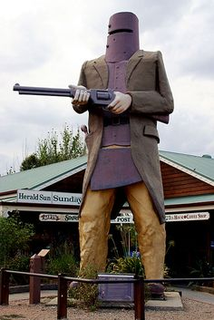 20 feet tall Big Ned Kelly, the iconic Australian outlaw, in Glenrowan, Victoria Iconic Australia, Australia Travel, Living In Adelaide, Australian Icons, Ned Kelly, Roadside Attractions, Traveling By Yourself, Big, Study Ideas