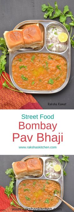 Bombay Pav bhaji Mashed potatoes and vegetable curry made in Indian style and served with bread. Delicious street food from India Indian Food Zugriff auf die Website für Informationen Indian Food Avoir plus d'informations sur notre site Puri Recipes, Snack Recipes, Dinner Recipes, Drink Recipes, Cooking Recipes, Mumbai Street Food, Indian Street Food, Tea Time Snacks, Indian Snacks
