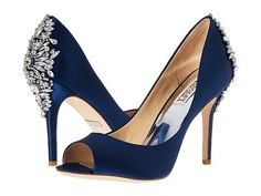 Get the must-have formal shoes of this season! These Badgley Mischka Navy Nilla Satin Crystal Embellished Peep Toe Pump Formal Shoes Size US Regular (M, B) are a top 10 member favorite on Tradesy. Navy Wedding Shoes, Blue Bridal Shoes, Converse Wedding Shoes, Wedge Wedding Shoes, Designer Wedding Shoes, Wedding Boots, Bride Shoes, Wedding Ring, Wedding Table