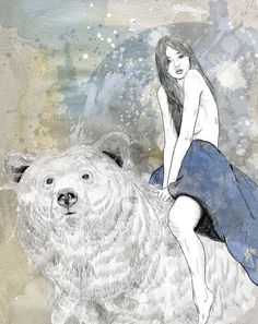 """ (Animals on Illustration Served) "" Spirit Bear, Bear Illustration, Bear Art, Fantasy Art, Fairy Tales, Art Photography, Lion Sculpture, Sketches, Beer"