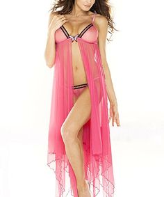 Another great find on #zulily! Fantasy Lingerie Pink Butterfly Flyaway Babydoll & G-String - Women by Fantasy Lingerie #zulilyfinds
