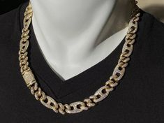 Men& Miami Cuban Link Chain 22 inches Gold Layered Cuban Chain Bling Necklace CZ Diamond Choker ICY NecklaceChain by lifetmejewelry Mens Diamond Stud Earrings, Diamond Choker, Chain Pendants, Cuban, Miami, Chokers, Gold Necklace, Bling, Cz Stones