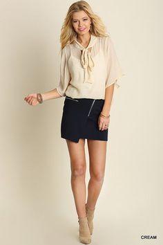 Cream Collar Tie Short Sleeve Blouse