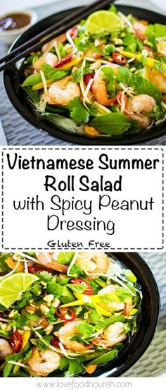 A delicious Vietnamese salad that is fresh and fragrant, easy to make, inspired by the Vietnamese summer rolls with a spicy peanut dressing. Gluten Free, Dairy Free, Refined Sugar Free.