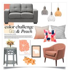 """""""Gray and Peach"""" by cowseatchard ❤ liked on Polyvore featuring interior, interiors, interior design, home, home decor, interior decorating, Baxton Studio, Dot & Bo, DENY Designs and Nearly Natural"""