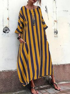 JustFashionNow Crew Neck Yellow Women Casual Dress Cocoon Daily Dress 3/4 Sleeve Casual Printed Striped Dress