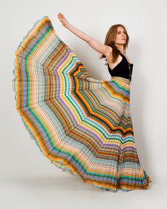 vintage 70s RAINBOW gauze Maxi Skirt S pleated by TinRoofVintage