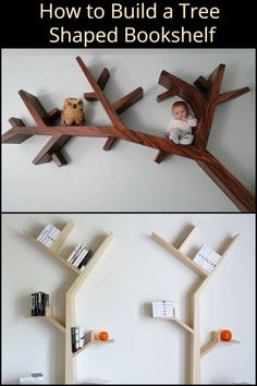 This Tree Shaped Bookshelf is a Beautiful Addition to Any Room - Modern Tree Bookshelf, Nursery Bookshelf, Tree Shelf, Wood Bookshelves, Diy Bookshelf Design, Creative Bookshelves, Wood Shop Projects, Diy Projects, Tree House Interior
