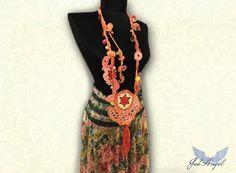 Crocheted Unique Beaded Necklace Bohemian Necklace by JadAngel