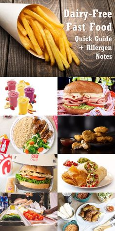 Dairy-Free Fast Food Listings - Quick Guide + Allergen Notes - including many options for gluten-free and other special diets