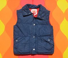 vintage 70s puffy SKI vest quilted sun down nylon by skippyhaha
