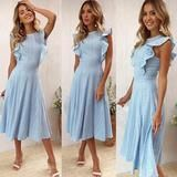 ECOWISH Womens Dresses Elegant Ruffles Cap Sleeves Summer ALine Midi Dress Blue M ** Visit the image link more details. (This is an affiliate link) Dresses Elegant, Cute Dresses, Beautiful Dresses, Summer Dresses, Awesome Dresses, Maxi Dresses, Summer Outfits, Summer Shorts, Stylish Dresses