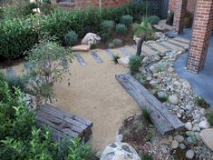 Modern Australian Native Japanese Garden – Waterfall and River/Pond. Front Garden, Entryway Path – S